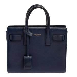 Saint Laurent Blue Leather Nano Classic Sac De Jour Tote
