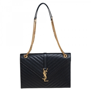 Saint Laurent Black Chevron Quilted Leather Monogram Envelope Shoulder Bag