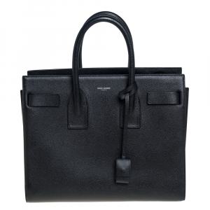 Saint Laurent Black Grain De Poudre Leather Small Classic Sac De Jour Tote