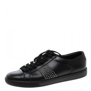 حذاء رياضي سان لوران باريس جلد أسود مرصع مقاس 38