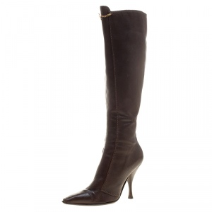 Saint Laurent Paris Brown Leather Knee Length Boots Size 38.5 - used