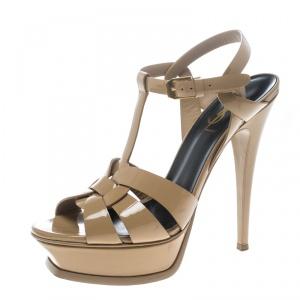 Saint Laurent Paris Beige Patent Leather Tribute Platform Sandals Size 37