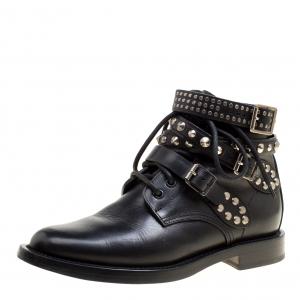 حذاء بوت كاحل سان لوران باريس رينغرز مرصع جلد أسود مقاس 36.5