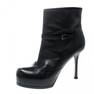 Saint Laurent Paris Black Leather Platform Ankle Boots Size 40.5 - used