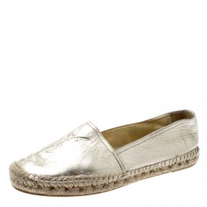 حذاء إسبادريلز سان لوران شعار جلد ذهبي ميتالك مقاس 40