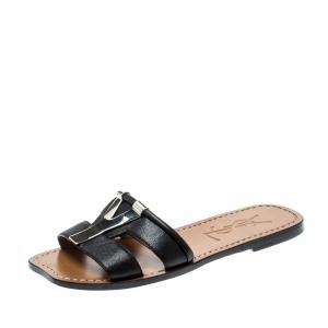 Saint Laurent Paris Black Leather Ycon Flats Size 35