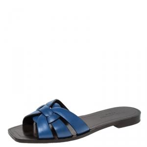 صندل سلايدز فلات سان لوران باريس تريبوت جلد أزرق مقاس 37.5