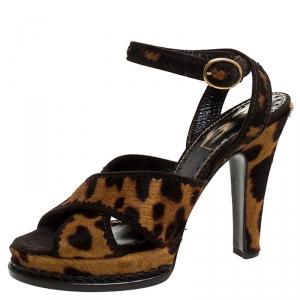 Saint Laurent Paris Leopard Print Calf Hair Platform Sandals Size 39 - used