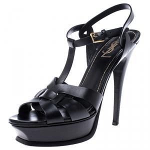 Saint Laurent Paris Black Leather Tribute Platform Sandals Size 39.5