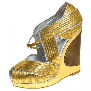 Saint Laurent Paris Metallic Gold Leather Venice Sculpted Wedge Platform Sandals Size 36
