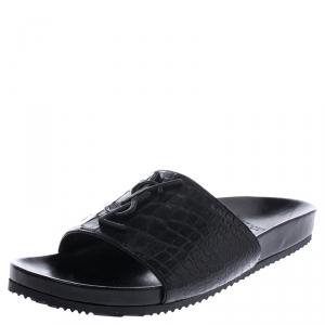 Saint Laurent Paris Croc Black Leather Joan Flat Slides Size 37.5
