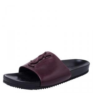 Saint Laurent Paris Burgundy/Black Leather Joan Flat Slides Size 37