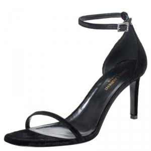 Saint Laurent Paris Black Suede Jane Ankle Strap Sandals Size 39.5 - used