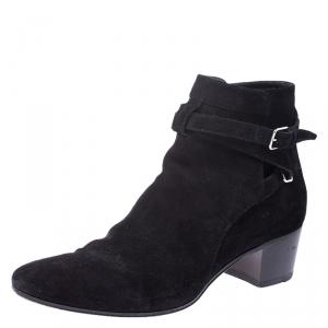 Saint Laurent Paris Black Suede Double Buckle Ankle Boots Size 40 - used