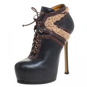 Saint Laurent Paris Multicolor Leather And Shearling Trim Tribtoo Platform Ankle Boots Size 39.5 - used