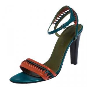 Saint Laurent Paris Multicolor Leather Twist Detail Ankle Strap Sandals Size 38.5 - used