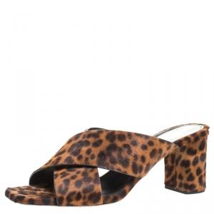 Saint Laurent Paris Brown/Black Leopard Print Calfhair LouLou Crisscross Sandals Size 37.5