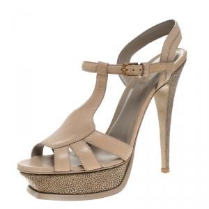 Saint Laurent Paris Beige Leather And Stingray Bubeo Platform Sandals Size 40.5 - used