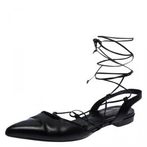 Saint Laurent Paris Black Leather Ankle Wrap Flat Sandals Size 40.5 - used