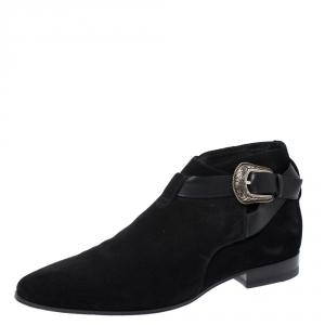 Saint Laurent Paris Black Suede Engraved Buckle Ankle Boots Size 41 - used