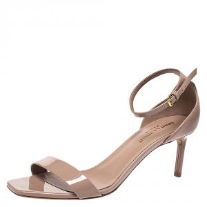 Saint Laurent Beige Patent Leather Amber Ankle Strap Open Toe Sandals Size 37.5