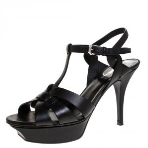 Saint Laurent Black Leather Tribute Platform Sandals Size 37.5