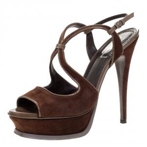 Saint Laurent Brown Suede Strappy Open Toe Platform Sandals Size 38