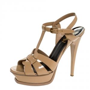 Saint Laurent Beige Patent Leather Tribute Platform Sandals Size 38