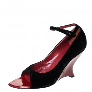 Saint Laurent Black Velvet Tai Tai Wedge Open Ankle Strap Sandals Size 39.5 - used