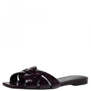 Saint Laurent Puple Croc Embossed Leather Tribute Flat Slides Size 38