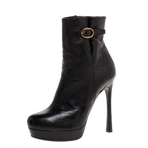 Saint Laurent Paris Black Leather Platform Ankle Boots Size 39 - used