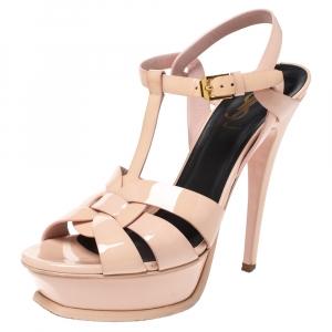 Saint Laurent Paris Pink Patent Leather Tribute Platform Sandals Size 37.5 - used