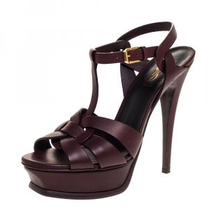 Saint Laurent Paris Dark Burgundy Leather Tribute Platform Sandals Size 37.5 - used