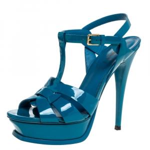 Saint Laurent Paris Teal Patent Leather Tribute Platform Sandals Size 38 - used