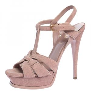 Saint Laurent Pink Quartz Textured Suede Tribute Platform Sandal Size 38.5 - used