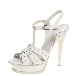 Saint Laurent Paris White Perforated Leather Tribute Platform Ankle Strap Sandals Size 39 - used