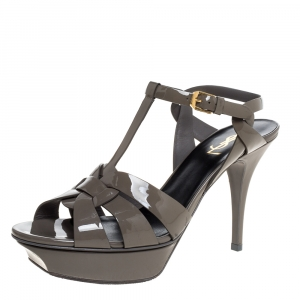 Saint Laurent Paris Olive Green Patent Leather Tribute Ankle Strap Sandals Size 41 - used