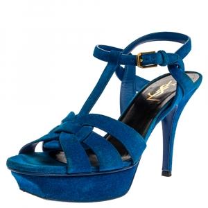 Saint Laurent Aegean Blue Suede Tribute Platform Ankle Strap Sandals Size 38 - used