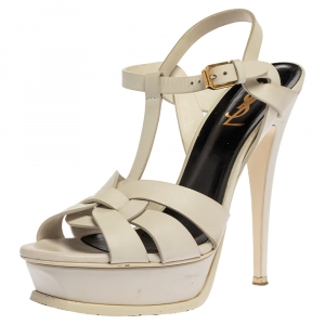Saint Laurent White Leather Tribute Platfrom Sandals Size 38 - used