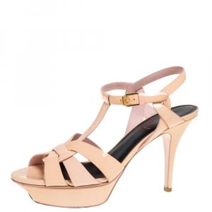 Saint Laurent Paris Peach Patent Leather Tribute Platform Sandals Size 38.5 - used