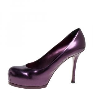 Saint Laurent Paris Purple Patent Leather Tribtoo Pumps Size 40