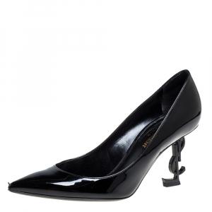 Saint Laurent Paris Black Patent Leather Opyum Pointed Toe Pumps Size 36.5