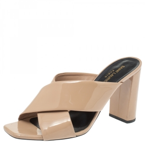 Saint Laurent Nude Beige Patent Leather LouLou Slide Sandals Size 40