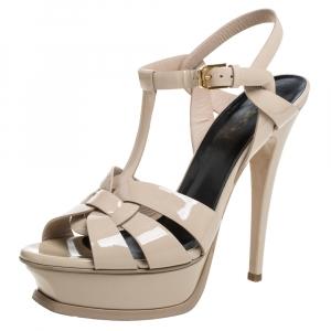 Saint Laurent Paris Beige Patent Leather Tribute Platform Ankle Strap Sandals Size 37