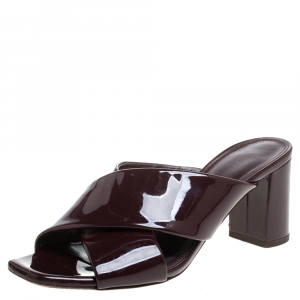 Saint Laurent Paris Burgundy Patent Leather Loulou Criss Cross Mules Size 36.5