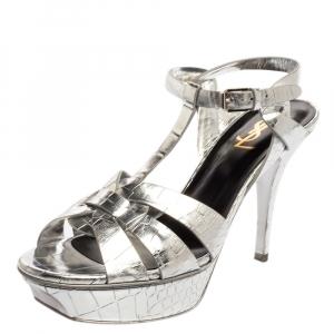 Saint Laurent Paris Metallic Silver Croc Embossed Leather Tribute Ankle Strap Sandal Size 39