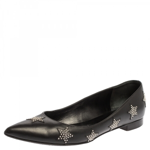 Saint Laurent Paris Black Leather Star Studded Pointed Toe Flats Size 39