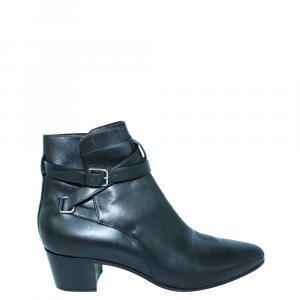 Saint Laurent Paris Black Leather Boots Size 41