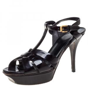 Saint Laurent Paris Dark Burgundy Patent Leather Tribute Sandals Size 37