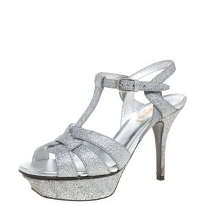 Saint Laurent Paris Silver Glitter Tribute Platform Sandals Size 35.5